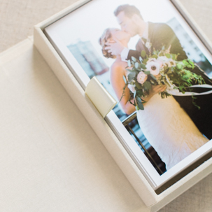 Maggie & Zach: Cream and gold Heirloom Box