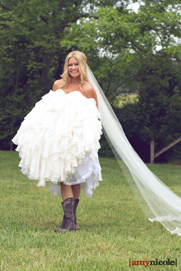 Cowboy boots in wedding dress